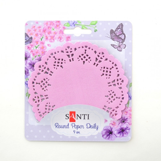 Набір серветок ажурних круглих, колір рожевий , діаметр 9 см, 12 шт.Santi