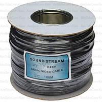 Кабель аудио-видео Sound Star 2 жилы, в экране, плоский, 3х6мм, чёрный, 100м