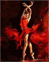 Картина по цифрам на холсте  Танец огня40 х 50 см(SW009)