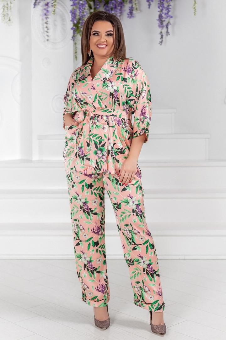 Летний брючный шелковый костюм в пижамном стиле, 50-56