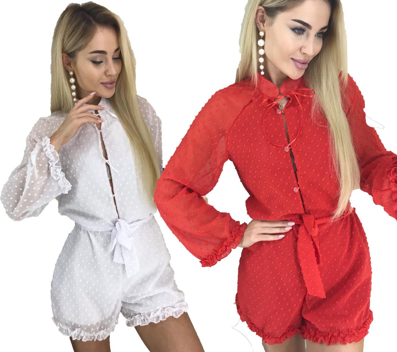 Красивый летний комбинезон шифоновый шорты (42-44, белый, красный) ft-1038