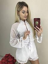 Красивый летний комбинезон шифоновый шорты (42-44, белый, красный) ft-1038, фото 3