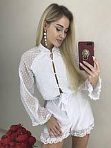 Красивый летний комбинезон шифоновый шорты (42-44, белый, красный) ft-1038, фото 2