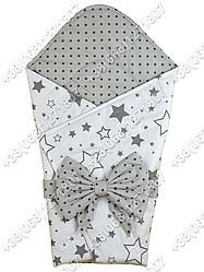 Летний конверт на выписку Звездочки белый с серым