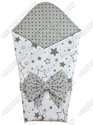 Летний конверт на выписку Звездочки белый с серым, фото 2
