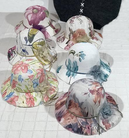 Оригинальная летняя женская шляпа с цветочным принтом, фото 2