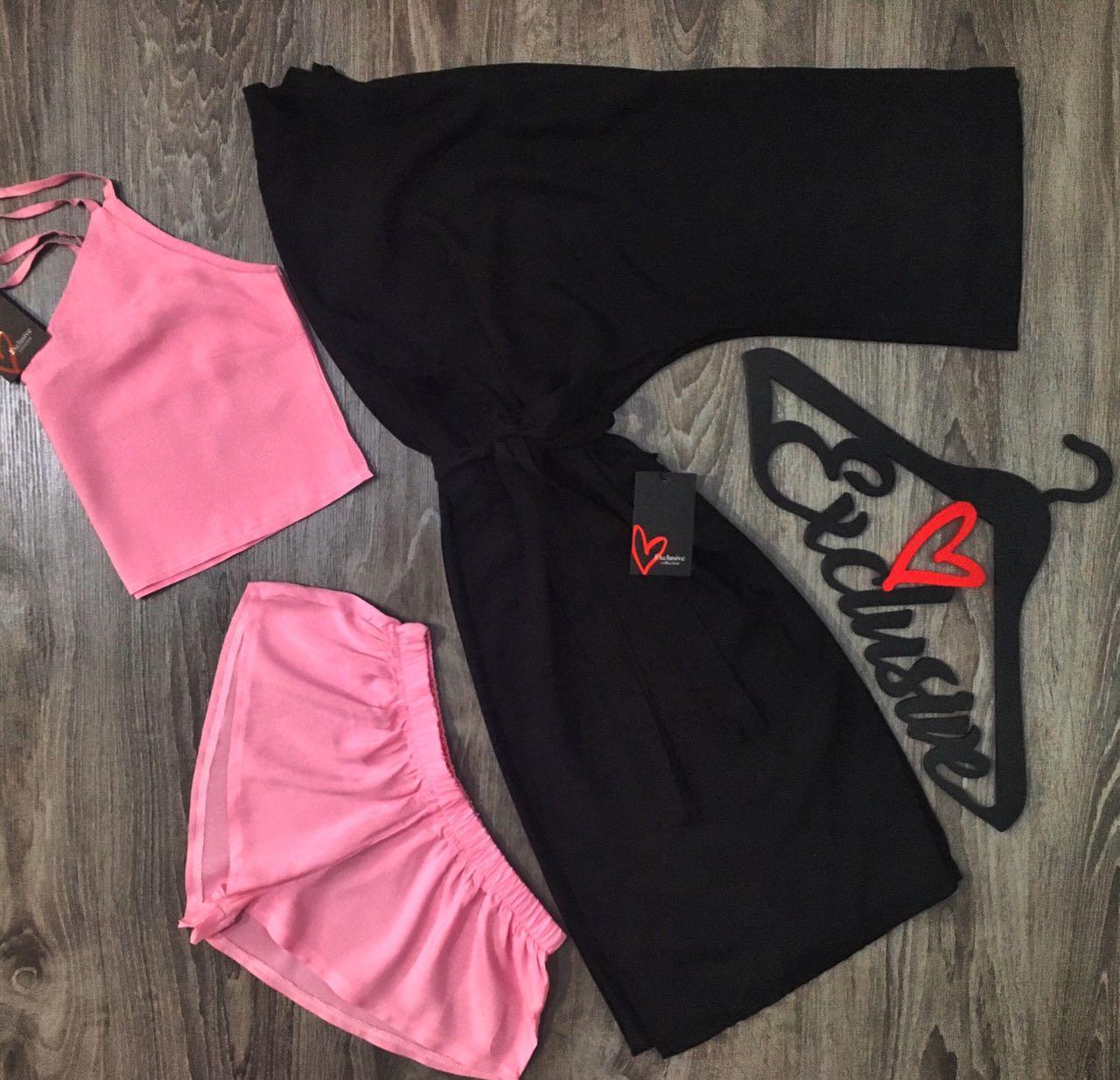Черно-розовый комплект тройка для сна и отдыха.