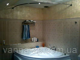Карниз в ванную, нержавеющая сталь полукруглый для поддона д25 80х80 см