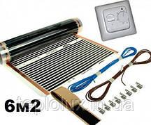 6м2.Инфракрасный теплый пол EXA (Корея), комплект  с механическим терморегулятором RTC70.26