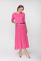 Женское яркое розовое платье (46-48, розовый , 50% шерсть/ 50% акрил)