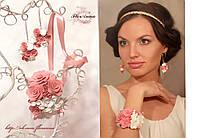 """""""Бело-персиковые розочки"""" комплект авторских украшений с цветами"""