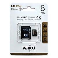 Карта памяти Verico MicroSD 8GB UHS-I Class 10 + переходник SD