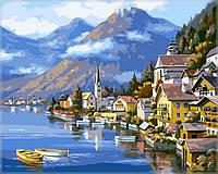 Картина по цифрам на холсте  Альпийская деревня40 х 50 см(VP218)