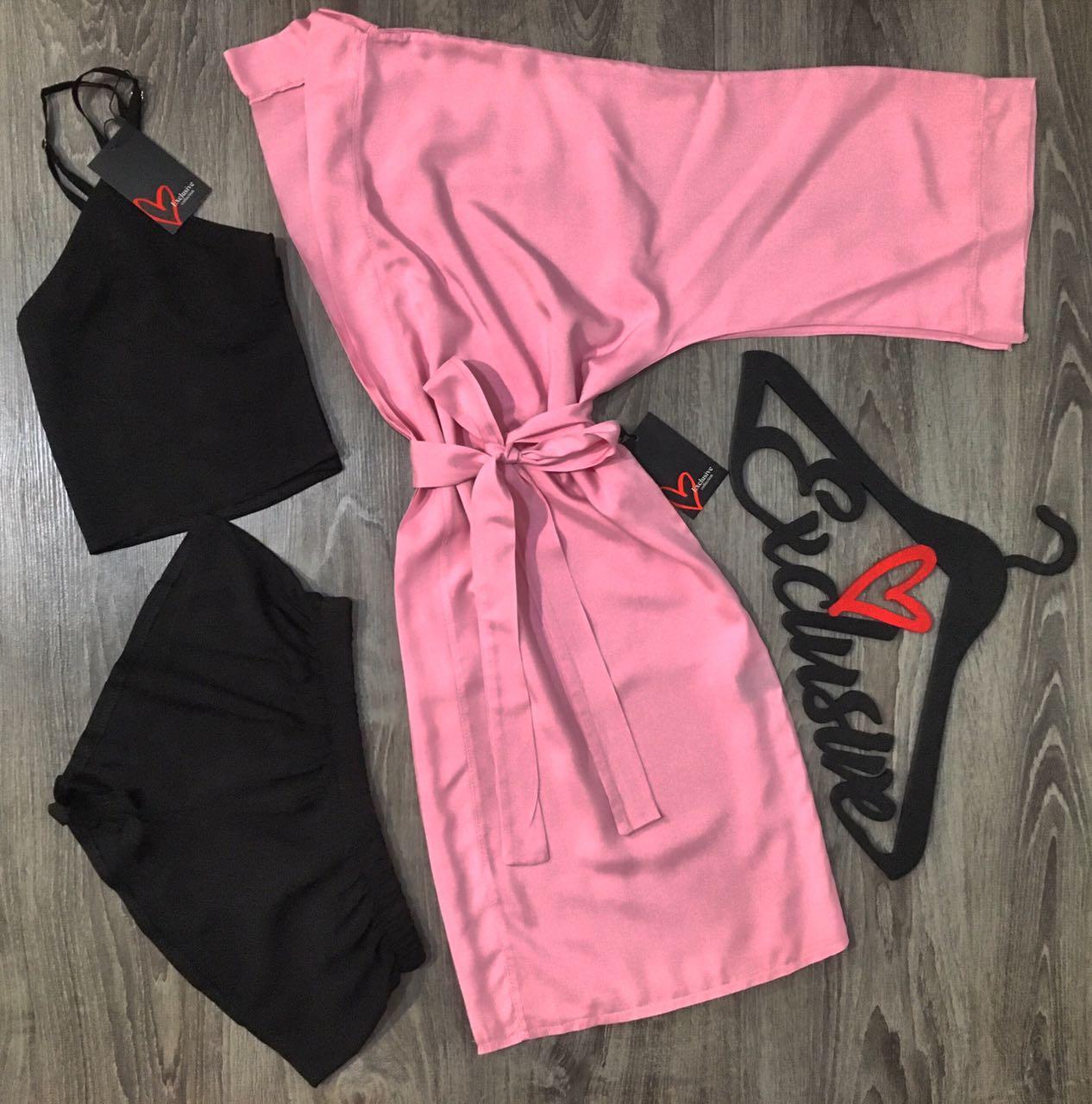 Розовый халат с набором пижамным хлопок,халат майка и шорты женские