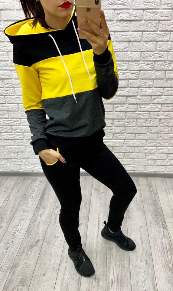 Костюм спортивный женский из двунитки комбинированый с капюшоном (К28111)