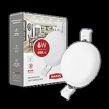 Світильник 6W світлодіодний врізний LED MAXUS SP edge, 4100К (коло)