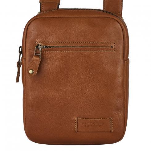 Мужская мини сумка Vittorio-Safino из натуральной кожи, рыжая VS003