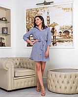 Платье YuLiYa Chumachenkо Платье-рубашка принт белый горох на сером  фоне от YuLiYa Chumachenko 255
