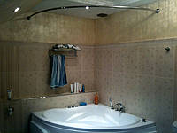 Карниз в ванную, нержавеющая сталь полукруглый для поддона д25 150х150 см, фото 1