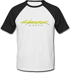 Футболка Cyberpunk 2077 Yellow Logo (белая с чёрными рукавами)