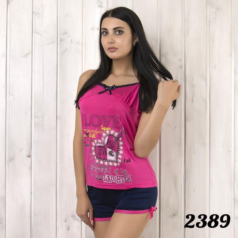 """Комплект-двойка женский: майка и шорты с принтом """"Love"""" Asel (Турция) Asl2389"""