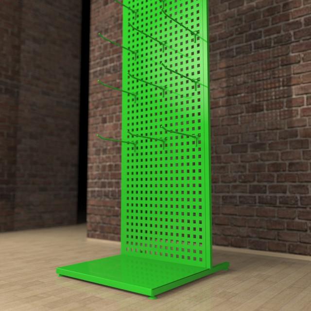 Стойки перфорированные с крючками зеленые