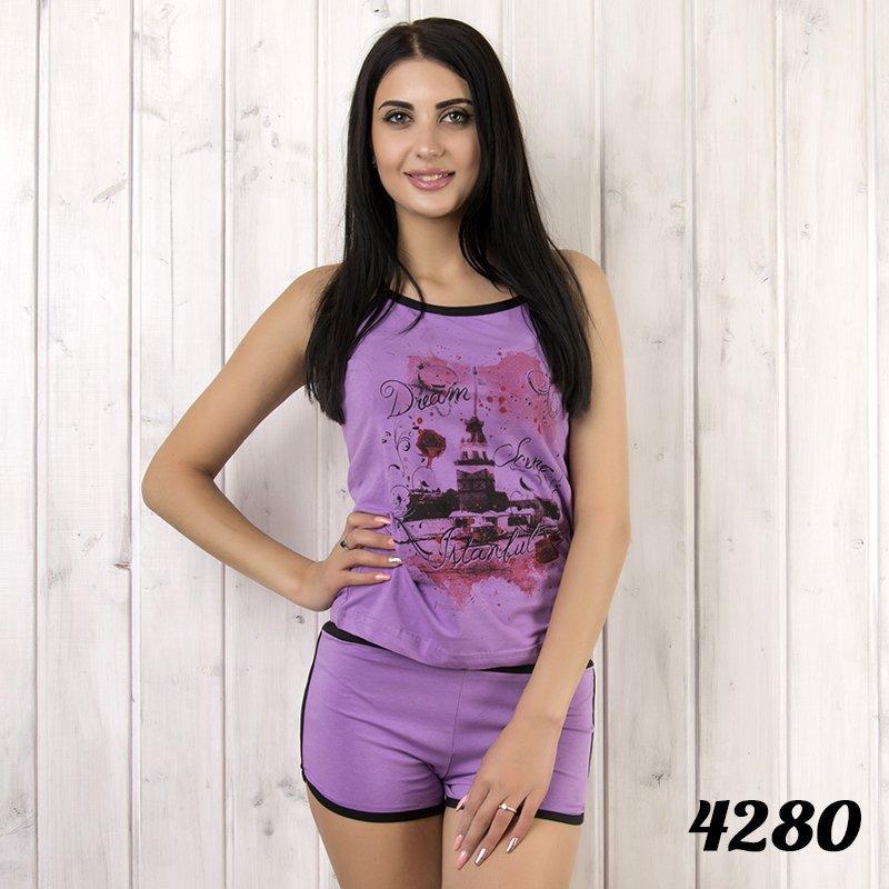 Комплект-двойка женский: майка и шорты с ярким принтом Pamuk (Турция) pmk4280