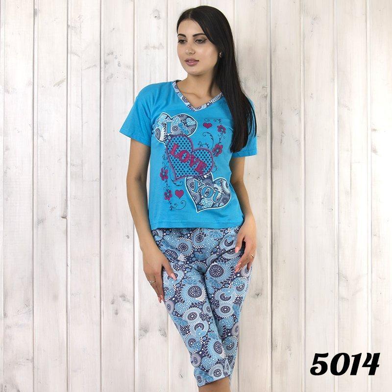 Комплект-двойка женский: футболка и бриджи с узором Love KSM (Турция) ksm5014