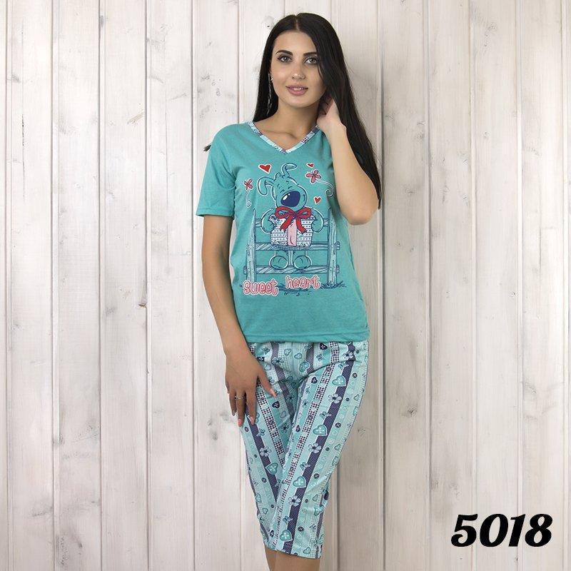 Комплект-двойка женский: футболка и бриджи с узором Love KSM (Турция) ksm5018
