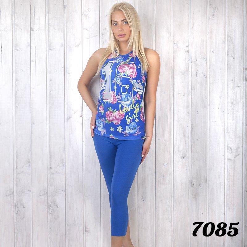 """Комплект-тройка женский: футболка, бриджи и шорты с принтом """"Цветы"""" Lady (Турция) ld7085"""