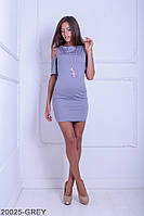 Яркое приталенное платье с вырезами на расклешенных рукавах Selina XL, Grey