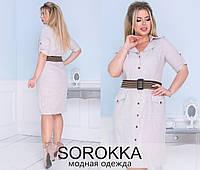 Льняное платье-халатик   (50-56), фото 1