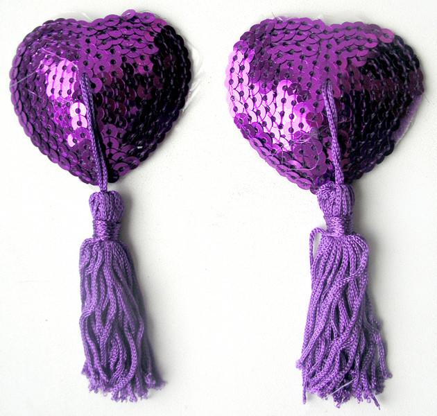 Пэстисы-накладки на соски в форме Сердечка Notabu фиолетовые из текстиля
