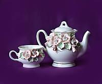 Набор чайный заварник и 2 чашки Ромашка