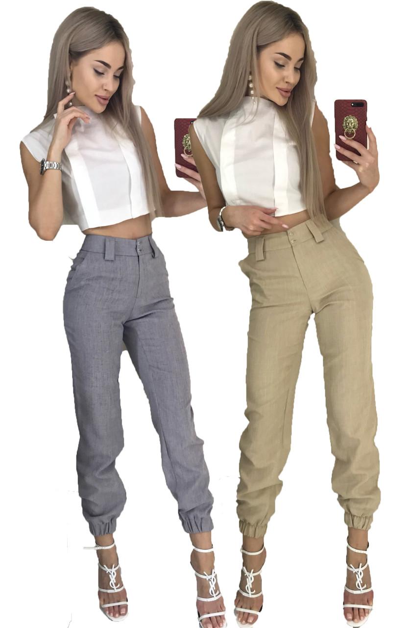 Летний костюм двойка блуза-топ и брюки 7/8 (42-46, серый, бежевый)