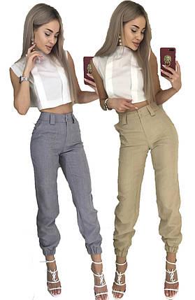 Летний костюм двойка блуза-топ и брюки 7/8 (42-46, серый, бежевый), фото 2