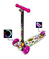 Детский самокат MAXI Цветочки, с розовыми светящимися колёсами, поворот наклоном руля, фото 1