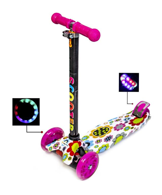 Детский самокат MAXI Цветочки, с розовыми светящимися колёсами, поворот наклоном руля