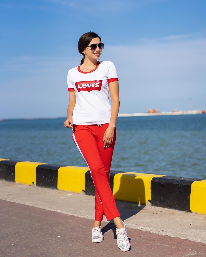 Костюм спортивный женский из трикотажа с футболкой LEVIS Копия (К28113)