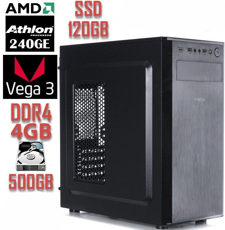Системный блок NO 240GE V1 / Athlon 240GE / DDR4-4Gb / SSD-120Gb / HDD-500Gb / Radeon Vega 3