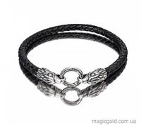 Кожаный браслет с серебром Орлы
