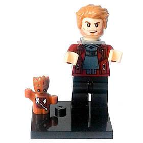 Звёздный лорд с Малышом Грутом Супергерой Марвел Мстители Стражи галактики Аналог лего