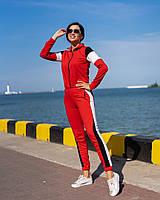 Костюм спортивный женский из двунитки на молнии с контрастными вставками (К28114), фото 1