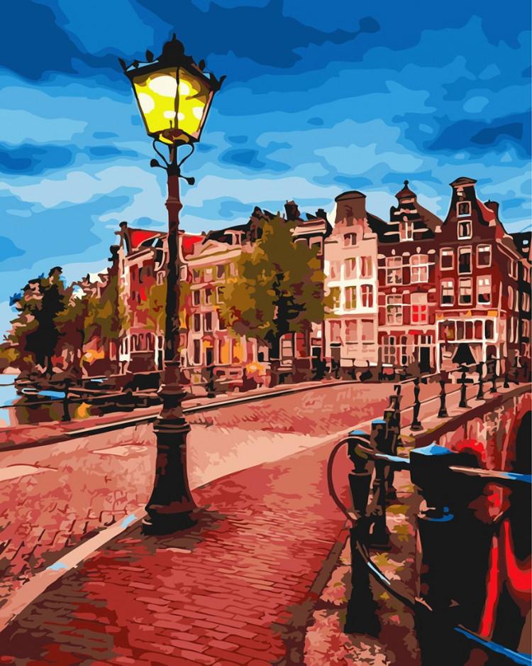 Картина по номерам Желтый фонарь на вечерней улице