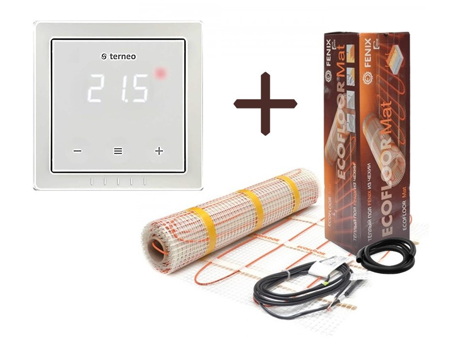 Нагревательный мат Fenix LDTS 121400-165 ( 8.8 м2 ) с терморегулятором Terneo S в комплекте (KIT2213)(Премиум)