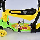 Самокат 5в1 трехколесный L - 11844 ЖЕЛТЫЙ, PU колеса, Подсветка колес и платформы Best Scooter, фото 5
