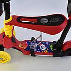 Самокат 5в1 трехколесный L - 11844 КРАСНЫЙ, PU колеса, Подсветка колес и платформы Best Scooter, фото 4