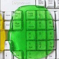 Гель губка очиститель Лизун зеленый для клавиатуры, салона авто и прочих поверхностей.
