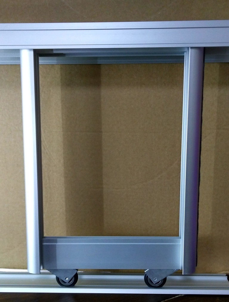 Комплект профилей раздвижной системы шкафа купе 1200х1600, две двери, серебро