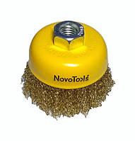 Щетка по металлу для болгарки торцевая гофрированная латунь 85 мм NovoTools